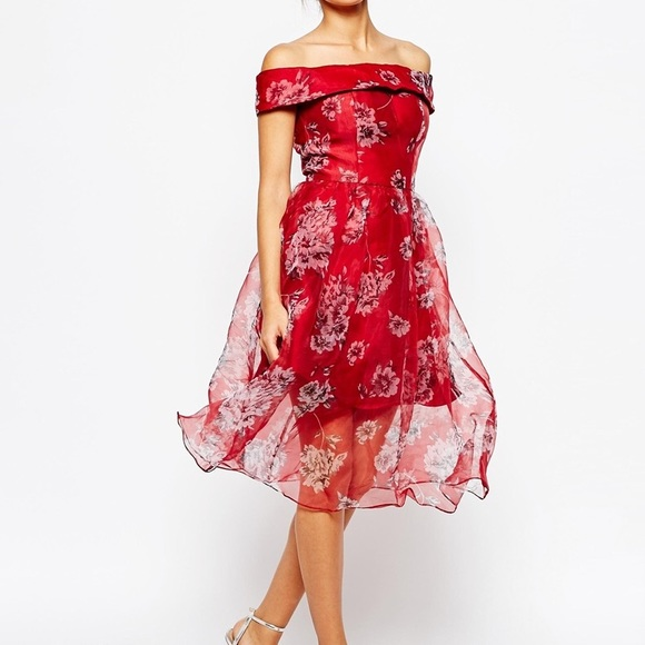 b9dbd02ddc4 Chichi London Red Off Shoulder Organza Midi Dress